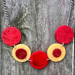 Vintage Red Yellow Bakelite Poker Chip Necklace